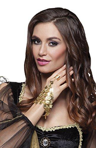 Gold-Münzen Ring Göttin Haremsdame Wahrsagerin Zigeunerin Römerin 1001 Nacht Belly Dance Bauchtanz Bollywood Hand-Schmuck ()