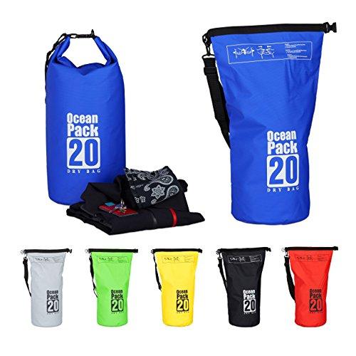 Relaxdays Ocean Pack, 20L, wasserdicht, Packsack, leichter Dry Bag, Trockentasche, Segeln, Ski, Snowboarden, blau