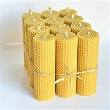 Velas de 100% Cera De Las Abejas Tamano 13 x 4 cm Juego De 12 Velas 100% Naturales Aroma De Miel/Cera 100% Hecho A Mano