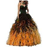 NUOJIA A Linie Herzausschnitt Quinceanera Kleid mit Rüschen Lang Prinzessin Ballkleid Festkleid Schwarz und Orange 32