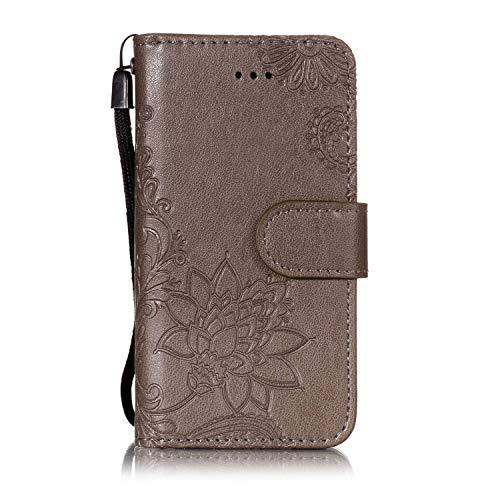 Touch Folio (Shinyzone Brieftasche Hülle für iPod Touch 5,iPod Touch 6 Hülle Prägung Henna Mandala Muster Serie,[Standfunktion und Magnetverschluss] Leder Folio Flip Handyhülle mit Kreditkartenfächer-Grau)