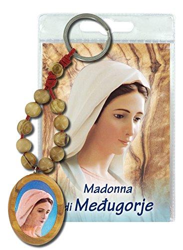 Ferrari & Arrighetti Llavero Virgen de Medjugorje con decenario en Madera de Olivo y oración en Italiano