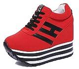AONEGOLD Sneakers con Zeppa Donna Scarpe da Ginnastica Casual Sportive Piattaforma Outdoor Moda Zeppa Interna Sneakers Tacco 9 CM (Rosso,34 EU)