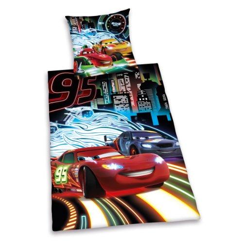 Bettwäsche Cars Neon, Kopfkissenbezug 80 x 80 cm und Bettbezug 135 x 200 cm, 100% Baumwolle, Renforce ()