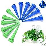 Kyerivs Bewässerungs-Spike Selbst Bewässerungssystem für Pflanzen Pflanze Wassertropfen für urlaub Flasche Kontrollsystem Blau Gruen 12 stück
