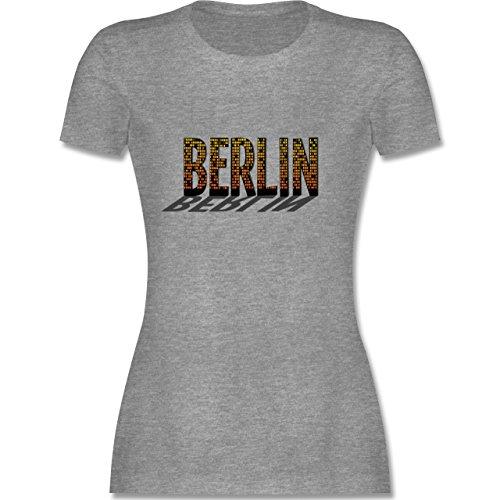 Städte - Berlin - tailliertes Premium T-Shirt mit Rundhalsausschnitt für Damen Grau Meliert