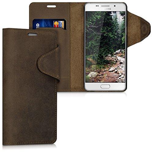 kalibri Samsung Galaxy A5 (2016) Hülle - Leder Handyhülle für Samsung Galaxy A5 (2016) - Handy Wallet Case Cover
