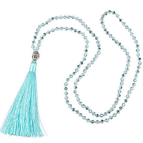 KELITCH Bohemian Crystal Beaded Necklace Long Chain Buddha Head Silk