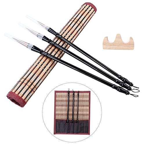 NUOLUX Excelente cepillo chino de la caligrafía del pelo del lobo Kanji cepillo japonés del dibujo de Sumi (3 tamaños con el sostenedor de pluma y la cortina media de la pluma)
