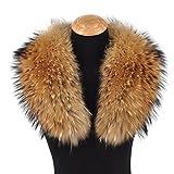 Ferand Echter Abnehmbarer Waschbär Pelzkragen für Frauen, für Westen, Parkas, Jacken und Mäntel, in Naturfarbe - 80cm