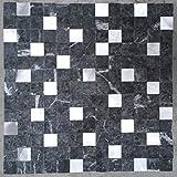 Naturstein Matte Fliesen 30x30 cm Verblender Mosaik Grau Mix Alu Marmor M754