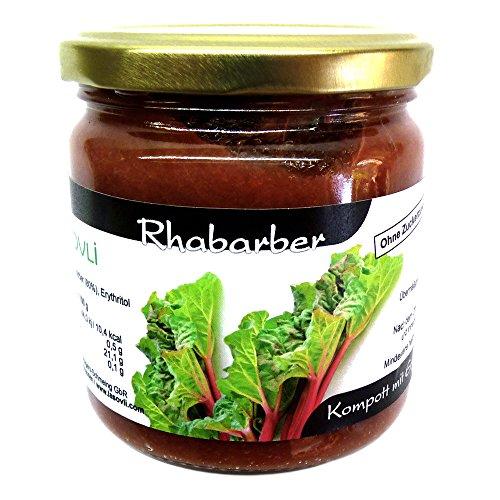 Rhabarber-Kompott ohne Zuckerzusatz, nur mit Erythrit (Erythritol) gesüßt, 80% Fruchtanteil, 400 g