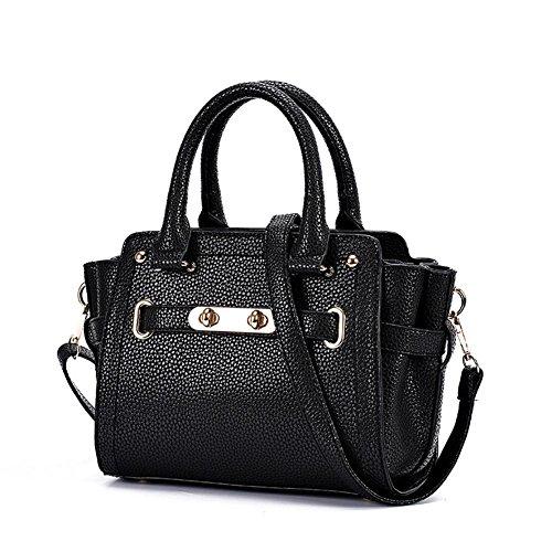 LDMB Damen-handtaschen Multifunktionale PU-lederne Schulter-Kurier-Beutel-Handtaschen-leichte klassische justierbare Einkaufstasche classic black