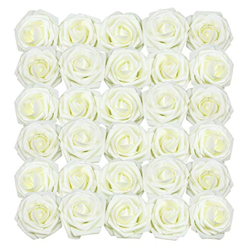 Homcomodar Milchig Weiß Künstliche Rose 30Pc Künstliche Blume Gefälschte Rosen für Die Hochzeit(Milchig Weiß)