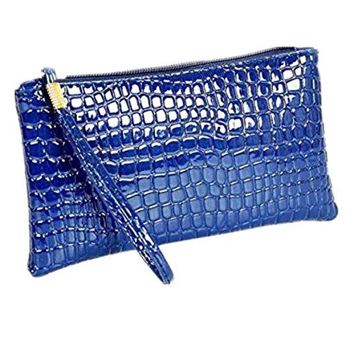 ZARU Frauen-Krokodil-Leder-Kupplungs-Handtasche, Münzen-Geldbeutel (Blau)