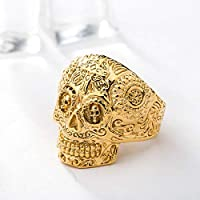 weyb European And American Retro Male Carved Ring Explosion Models Ghost Bone Hand Imitation Stainless Titanium Steel Pipe Pipe Cross Skull Ring 2