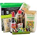 Sushi Starter Set 7 teilig + GRATIS Reislöffel - Pamai Pai® - Wasabi Nori Sushimatte Sojasoße