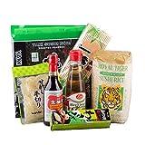 Sushi Starter Set 7 teilig + GRATIS Reislöffel - Pamai Pai - Wasabi Nori Sushimatte Sojasoße