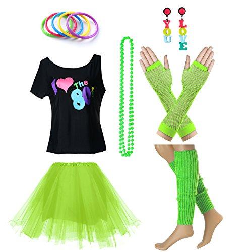 Fun Daisy Clothing Damen I Love The 80er Jahre T-Shirt 80er Jahre Outfit Zubehör, Grün - UK 12-14 / S-M