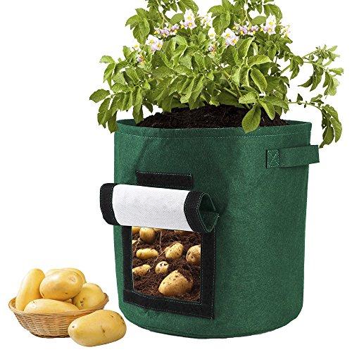 FGASAD Gartenkartoffelbeutel, umweltfreundliche Gartenpflanzen, belüftete Pflanzen, Topfbehälter, Innen- und Außenpflanzensäcke, Nicht gewebt, grün, 34 * 34cm