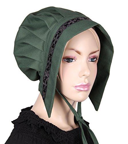 kreativwunderwelt Kleine Tudorhaube mit Bordüre - grün - - Tudor Damen Kostüm