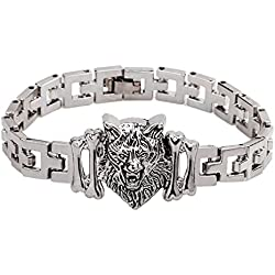 Sorella'z Silver Stainless Steel Wolf Bracelet for Men