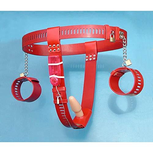 FUBULECY Produkte Aus Rostfreiem Edelstahl, Die Den Analplughand Keuschheitsgürtel Vibrieren (Farbe : Red)