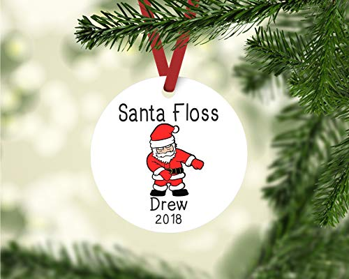 Ameli676a Weihnachtsmann Zahnseide Ornament, personalisierte Kinder-Ornament, Zahnseide Tanz-Ornament, personalisiertes Geschenk, Flossing Dance, Gamer Ornament, Flossing Dance
