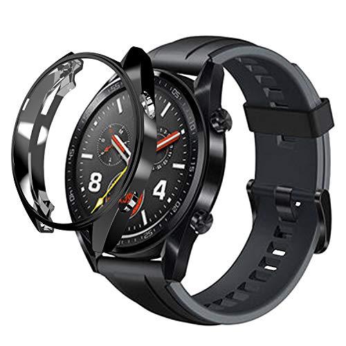 sciuU Hülle für Huawei GT Active 46mm, Slim Soft Flexible TPU-Gehäuse Schutzhülle Case Durchsichtig Schale Kompletter Schutz Tasche Cover für Huawei GT Active Smart Watch - Schwarzes Armband Case Cover