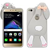 P8 Lite 2017 Conejo Case, Vandot Fashion 3D Lovely Cartoon Buck Teeth Bunny Rabbit Rubber Series Soft Silicone Back Case Cover para Huawei P8 Lite 2017 / P9 Lite 2017 / Huawei Nova Lite / Honor 8 Lite Case, Protección Silicona Resistente Carcasa Funda Tapa TPU Gel caja del teléfono Cartoon Accessories Set Funny Buck Tooth Conejito Phone Case Skin Shell - Color Gris