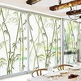 Forever Bambus Dekor-fensterfolie, Ohne klebstoff Fensterfolie sichtschutz Statische klarsichtfolie Mattiertes Glas Film für Dusche 3D fensteraufkleber Wohnzimmer Office-A 60x90cm(24x35inch)