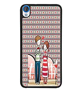 PrintDhaba Couple D-4561 Back Case Cover for HTC DESIRE 820 (Multi-Coloured)