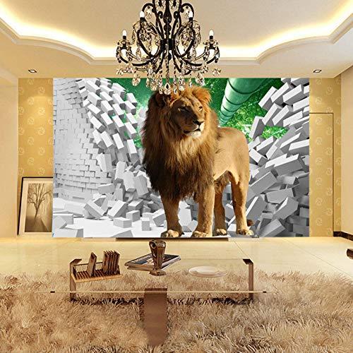 3D tapete Wandbilder Benutzerdefinierte Foto Stereo Lion Broken Wall kreative Raum Wanddekorationen Wohnzimmer Kinderzimmer Schlafzimmer groß 350x256cm