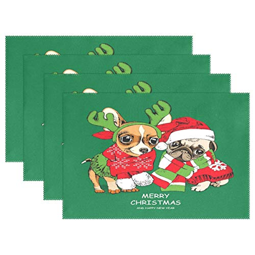 GOODSTHING Tischset, Merry Christmas Pug Dog Placemat Table Mat, Snowflake 12