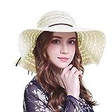 Welrog Damen Mädchen Sommer Derby Sonnenhut - Breit Rand Strand Sonnenschutzkappe Tee Party Hut (Beige 2)