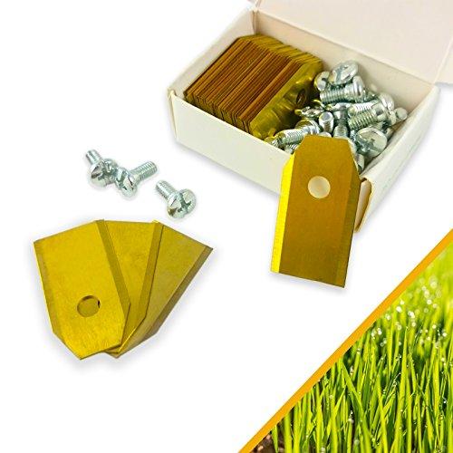 30x Rostfreie PREMIUM Titan Messer Klingen für alle Husqvarna® Automower® - Gardena® Mähroboter - 75mm DICK + 30 Schrauben - Passende Ersatzmesser für 105, 310, 315, 320, 420, 430x, r40i