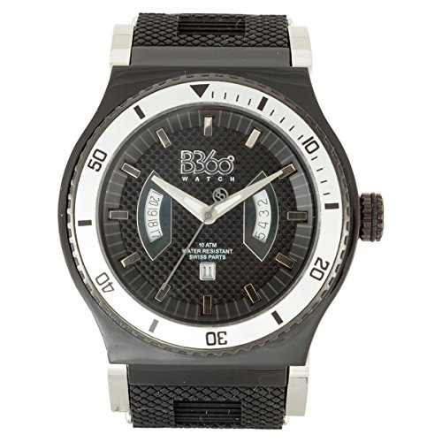 B360 WATCH Unisex-Armbanduhr Large Analog Quarz Silikon B Class New Black Silver 2 L