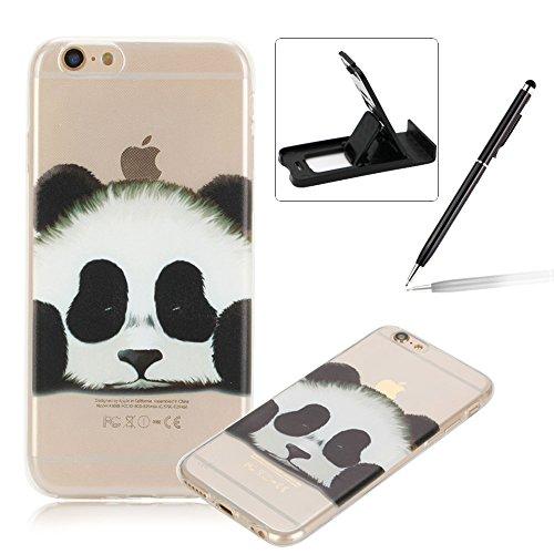Coque iPhone 6S Plus, Herzzer Coque en Silicone iPhone 6 Plus [Liquid Crystal] Housse Etui TPU Silicone Ultra Mince Case Unique Design Etui Gel Fine Couverture Arrière Etui de Protection Anti Poussièr Panda Blanc
