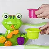 Bath Tub Toy for kids,Seprovider Educational Frog Bath Time Activity Play Centre Fun Toddler Green Frog 4 Stacking Cups Water Spray Interactive Frog Bath Toy