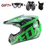 Casque de Moto-Cross avec Lunettes de Protection Gants Masque, Moto DH Enduro VTT...