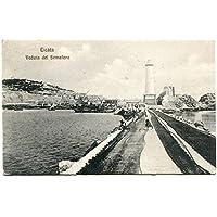 1909 Licata Veduta del semaforo faro barca FP B/N VG ANIM Cartolina Postale - Faro Storico Collezione