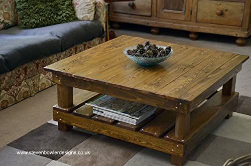 rustic country cottage style reclaimed wood coffee table medium oak stain with undershelf. Black Bedroom Furniture Sets. Home Design Ideas