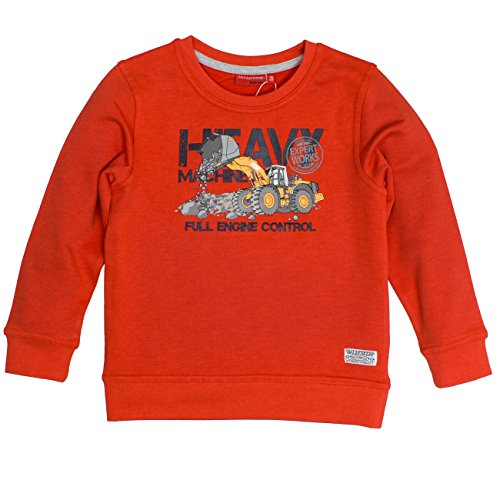 SALT AND PEPPER Jungen Sweatshirt Sweat Huge Machine Print, Orange (Orange Melange 565), 116