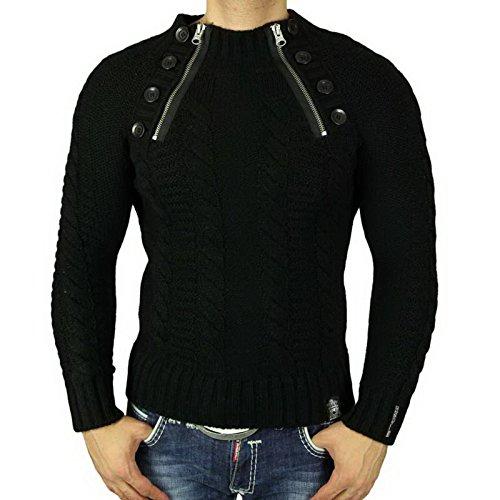 R-Neal Herren Pullover Grobstrick Zipper Pulli Sweatshirt Jacke Hoodie RN-6773 Schwarz