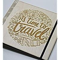 İts Time to Travel Yazılı, Ahşap Fotoğraf Albümü/Düğün Albümü/Aile Albümü/Bebek Albümü - 72 Sayfa
