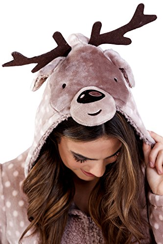 Damen Onesie / einteiliger Schlafanzug mit 3D-Ohren, Moose - 2
