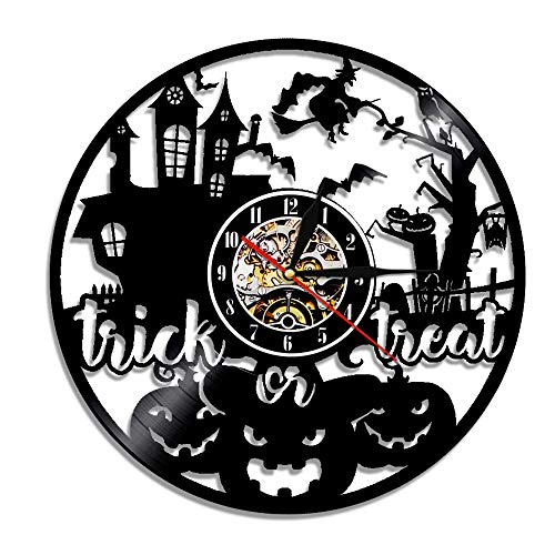 inyl Uhr, Halloween Dekoration Vinyl Kunst LED Wanduhr, Wohnkultur (12 Zoll) ()