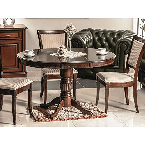 JUSTyou Margo Table à rallonge Noyer foncé 75 x 90 x 90-125 cm