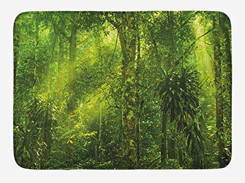 JIEKEIO Plant Bath Mat, Tropical Tranquil Place with Lots of Green Trees Earthly Places Untouched Jungle, Plush Bathroom Decor Mat with Non Slip Backing, 23.6 W X 15.7 W Inches, Apple Green