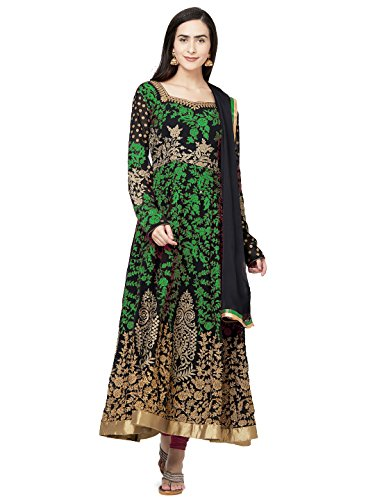 Sareeshop Women's Georgette Semi- Stitched Dress Material (Green, Free Size)